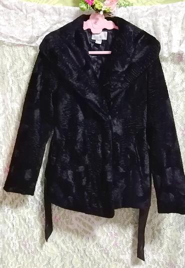 黒ブラック腰紐付きコート/外套/アウター Black waist string coat mantle_画像3