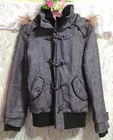 CECIL McBEE セシルマクビー 灰グレーラクーンファーフードコート/外套/アウター Ash gray raccon fur hood coat mantle_画像3