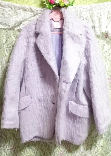 パープルブルーフワフワロングコート/外套/アウター Purple blue fluffy long coat mantle_画像4