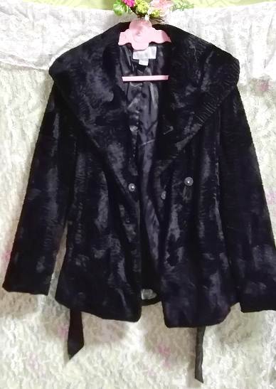 黒ブラック腰紐付きコート/外套/アウター Black waist string coat mantle_画像2