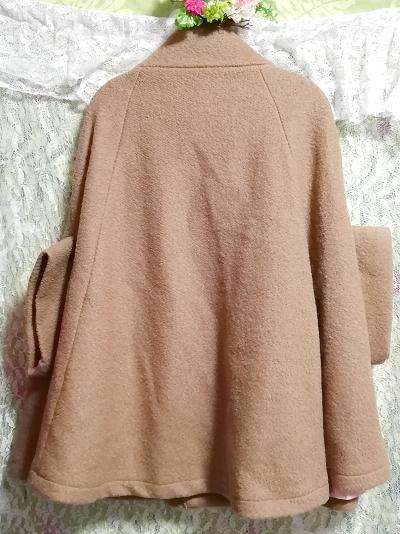 亜麻色横袖ポンチョ風コート/外套/アウター Flax color side sleeve poncho type coat mantle_画像2