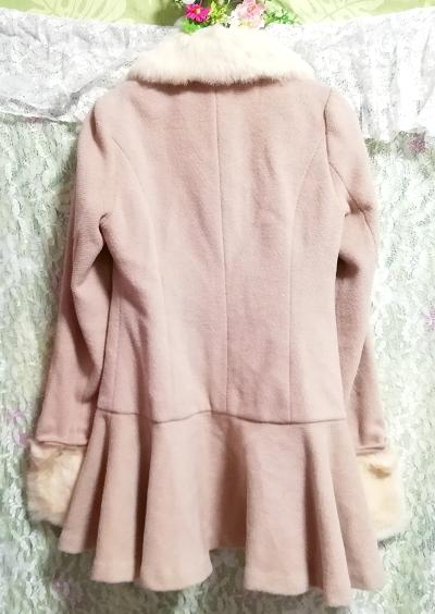ピンクベージュラビットファーロングガーリーコート/外套/アウター Pink beige rabbit fur long girly coat mantle_画像5