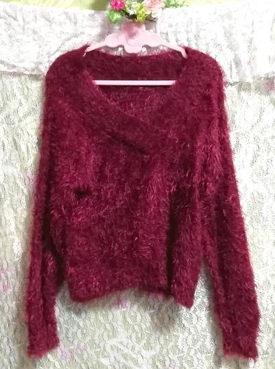 赤紫ワインレッドふわふわVネック長袖/セーター/ニット/トップス Red purple wine red fluffy V neck long sleeve sweater knit tops_画像2