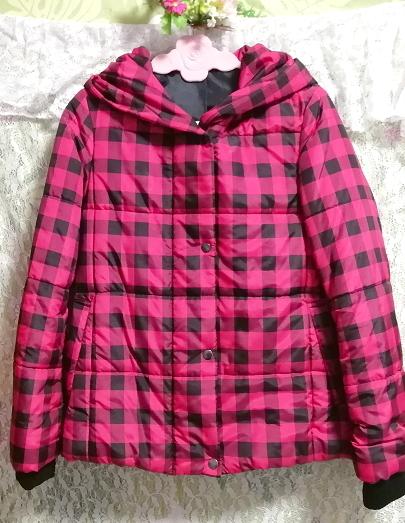 黒ピンクチェック柄ジャンパーコート/外套/アウター Black pink check pattern coat mantle_画像3