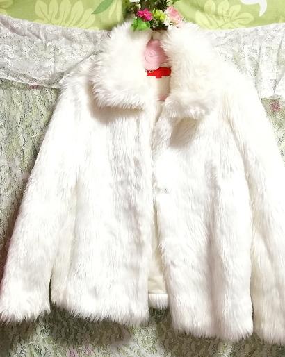 白ホワイトふわふわファーカーディガンコート/外套/アウター White fluffy fur cardigan coat mantle_画像4