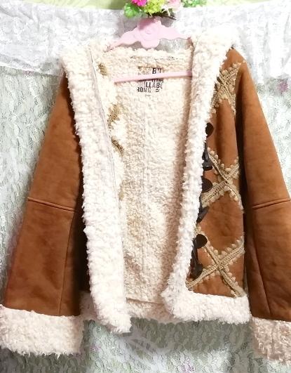 茶色フローラルホワイトボアダッフルコート/外套/アウター Brown floral white duffel coat mantle_画像4