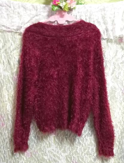 赤紫ワインレッドふわふわVネック長袖/セーター/ニット/トップス Red purple wine red fluffy V neck long sleeve sweater knit tops_画像3