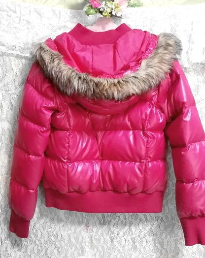 蛍光ピンクマゼンタフード付きショートダウンコート/外套/アウター Fluorescence pink magenta hood short down coat mantle_画像5