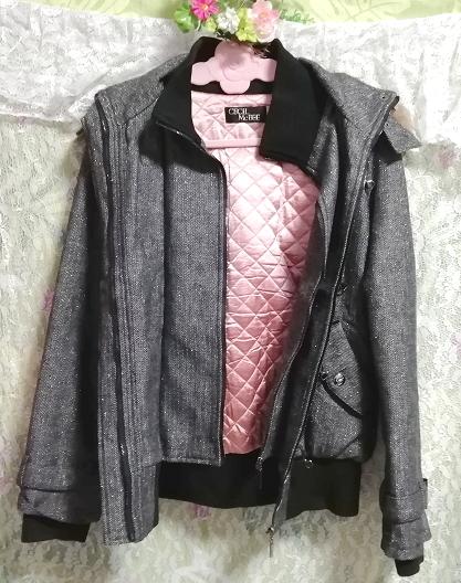 CECIL McBEE セシルマクビー 灰グレーラクーンファーフードコート/外套/アウター Ash gray raccon fur hood coat mantle_画像5