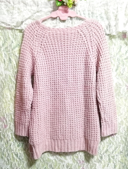 ELLE インドネシア製ピンク編み長袖/セーター/ニット/トップス Made in indonesia pink long sleeve sweater knit tops_画像2