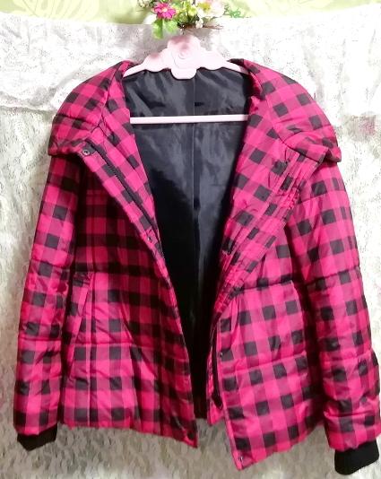 黒ピンクチェック柄ジャンパーコート/外套/アウター Black pink check pattern coat mantle_画像4