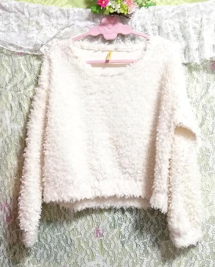 白ホワイトふわふわ長袖/セーター/ニット/トップス White fluffy long sleeve sweater knit tops_画像1