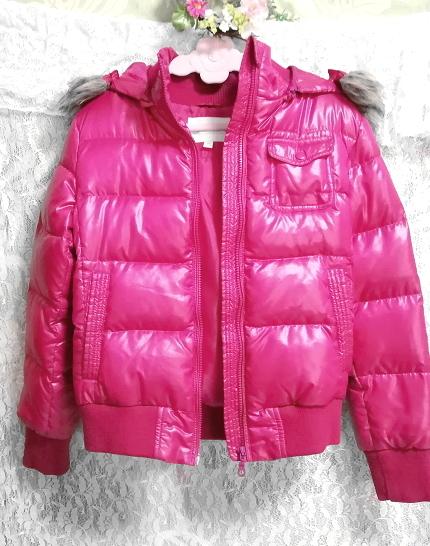 蛍光ピンクマゼンタフード付きショートダウンコート/外套/アウター Fluorescence pink magenta hood short down coat mantle_画像4