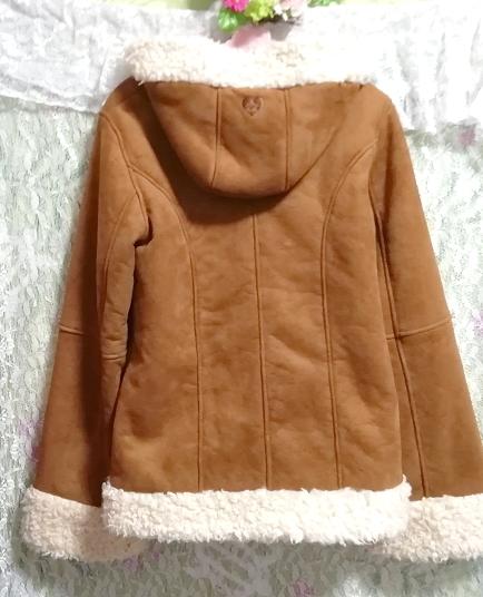 茶色フローラルホワイトボアダッフルコート/外套/アウター Brown floral white duffel coat mantle_画像5