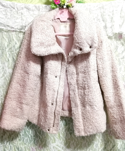 薄ピンクフワフワダウンコート/外套/アウター Light pink fluffy down coat mantle outer