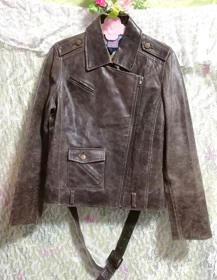 茶色ブラウン豚皮100%コート/外套/アウター Brown pig skin 100% coat mantle,コート&コート一般&Mサイズ