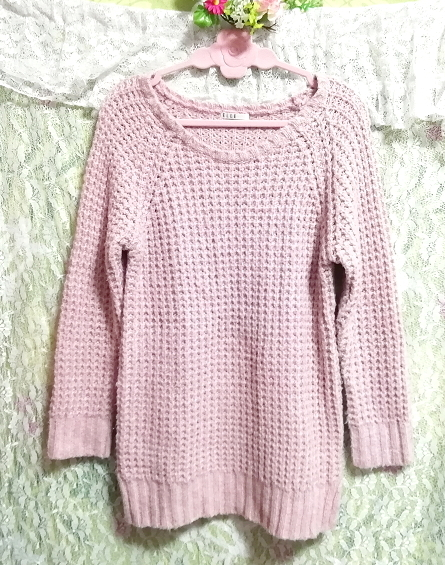 ELLE インドネシア製ピンク編み長袖/セーター/ニット/トップス Made in indonesia pink long sleeve sweater knit tops_画像1