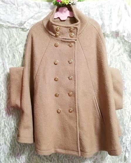 亜麻色横袖ポンチョ風コート/外套/アウター Flax color side sleeve poncho type coat mantle_画像1