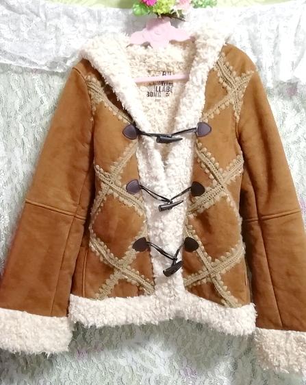 茶色フローラルホワイトボアダッフルコート/外套/アウター Brown floral white duffel coat mantle_画像3