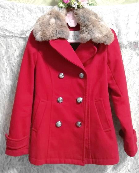 赤レッド亜麻色ラビットファーロングコート/外套/アウター Red flax color rabbit fur long coat mantle_画像1