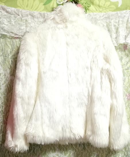 白ホワイトふわふわファーカーディガンコート/外套/アウター White fluffy fur cardigan coat mantle_画像5