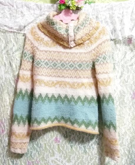 黄緑フローラルホワイトエスニック柄タートルネック長袖/セーター/ニット/トップス Yellow green floral white ethnic sweater knit tops,ニット、セーター&長袖&Mサイズ