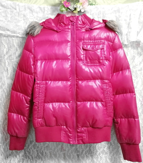 蛍光ピンクマゼンタフード付きショートダウンコート/外套/アウター Fluorescence pink magenta hood short down coat mantle_画像3
