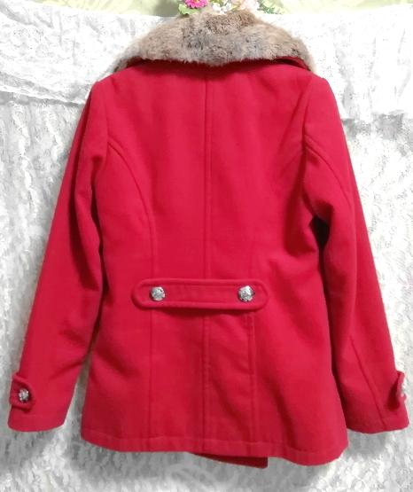 赤レッド亜麻色ラビットファーロングコート/外套/アウター Red flax color rabbit fur long coat mantle_画像3