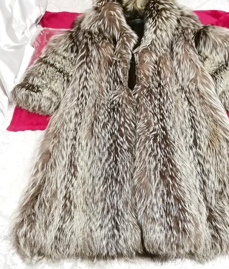 EMBA best quality 茶灰白豪華美品リアルファーマキシロングコート Brown ash white gorgeous beauty item real fur maxi long coat mantle_画像1