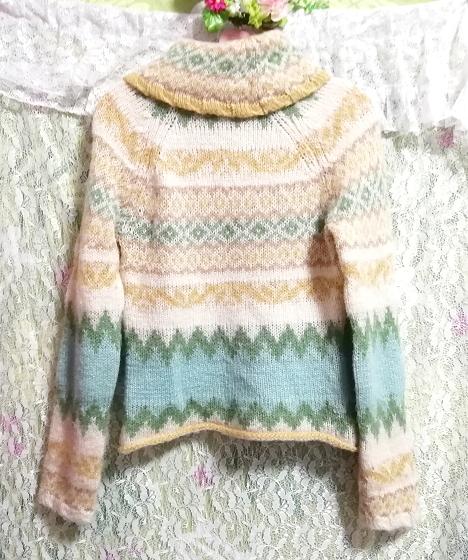 黄緑フローラルホワイトエスニック柄タートルネック長袖/セーター/ニット/トップス Yellow green floral white ethnic sweater knit tops_画像5