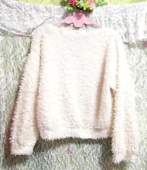 白ホワイトふわふわ長袖/セーター/ニット/トップス White fluffy long sleeve sweater knit tops_画像2