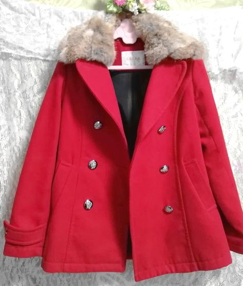 赤レッド亜麻色ラビットファーロングコート/外套/アウター Red flax color rabbit fur long coat mantle_画像2