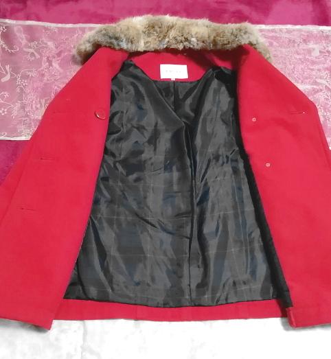 赤レッド亜麻色ラビットファーロングコート/外套/アウター Red flax color rabbit fur long coat mantle_画像7