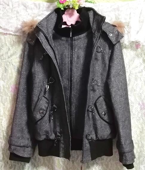CECIL McBEE セシルマクビー 灰グレーラクーンファーフードコート/外套/アウター Ash gray raccon fur hood coat mantle_画像4