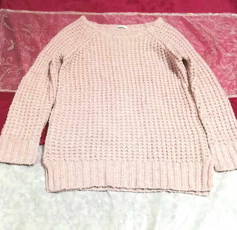 ELLE インドネシア製ピンク編み長袖/セーター/ニット/トップス Made in indonesia pink long sleeve sweater knit tops_画像3