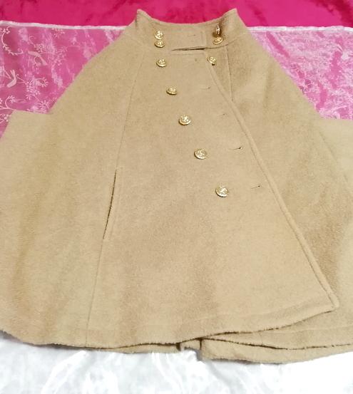 亜麻色横袖ポンチョ風コート/外套/アウター Flax color side sleeve poncho type coat mantle_画像3