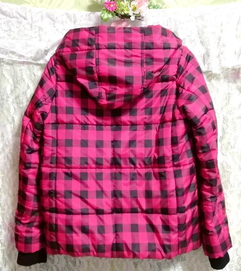 黒ピンクチェック柄ジャンパーコート/外套/アウター Black pink check pattern coat mantle_画像5
