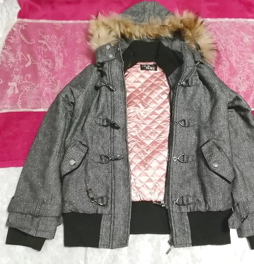 CECIL McBEE セシルマクビー 灰グレーラクーンファーフードコート/外套/アウター Ash gray raccon fur hood coat mantle_画像1