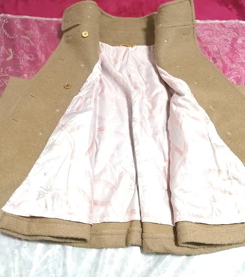 亜麻色横袖ポンチョ風コート/外套/アウター Flax color side sleeve poncho type coat mantle_画像4