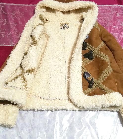 茶色フローラルホワイトボアダッフルコート/外套/アウター Brown floral white duffel coat mantle_画像2