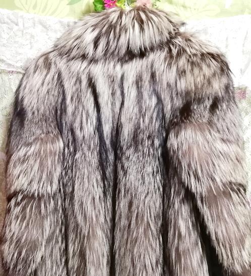 EMBA best quality 茶灰白豪華美品リアルファーマキシロングコート Brown ash white gorgeous beauty item real fur maxi long coat mantle_画像9
