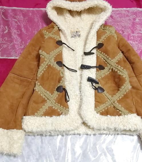 茶色フローラルホワイトボアダッフルコート/外套/アウター Brown floral white duffel coat mantle_画像1