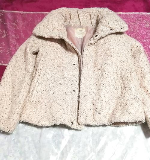 薄ピンクフワフワダウンコート/外套/アウター Light pink fluffy down coat mantle outer_画像4