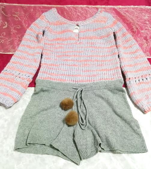 青ピンク編みニット灰グレーキュロットラビットファーボンボンワンピース/セーター Blue pink knit ash gray culottes onepiece sweater,ニット、セーター&長袖&Mサイズ