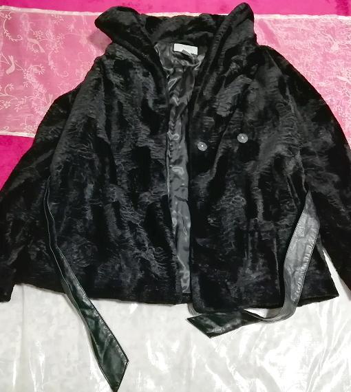 黒ブラック腰紐付きコート/外套/アウター Black waist string coat mantle_画像1