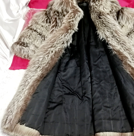 EMBA best quality 茶灰白豪華美品リアルファーマキシロングコート Brown ash white gorgeous beauty item real fur maxi long coat mantle_画像7