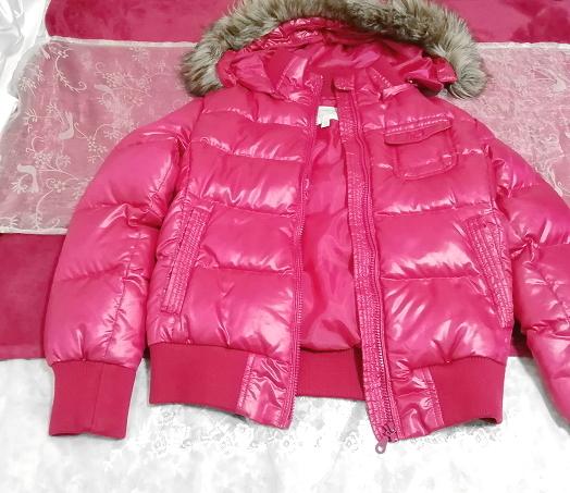 蛍光ピンクマゼンタフード付きショートダウンコート/外套/アウター Fluorescence pink magenta hood short down coat mantle_画像1