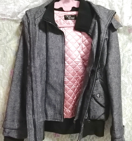 CECIL McBEE セシルマクビー 灰グレーラクーンファーフードコート/外套/アウター Ash gray raccon fur hood coat mantle_画像6