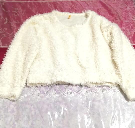 白ホワイトふわふわ長袖/セーター/ニット/トップス White fluffy long sleeve sweater knit tops_画像3