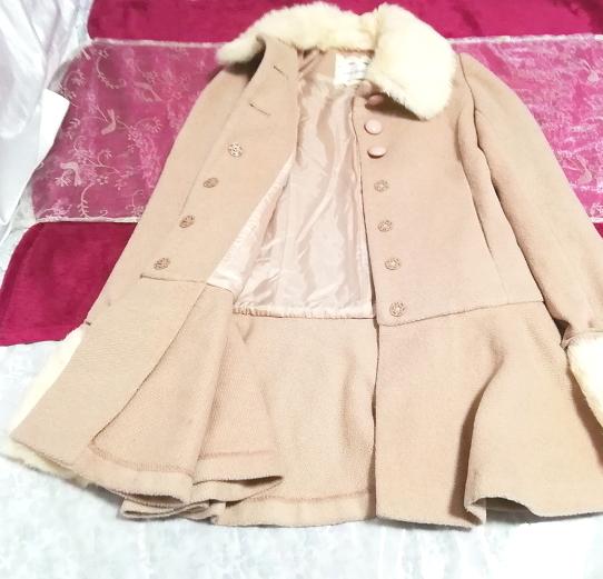ピンクベージュラビットファーロングガーリーコート/外套/アウター Pink beige rabbit fur long girly coat mantle_画像2